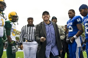 "Radio & TV host Tom Joyner of ""Tom Joyner in the Morning"" tossing the coin before the 2008 ""Battle of the Bay"" won by Hampton 35 - 17."