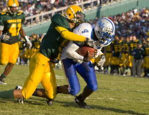 In 2007 the late 4th quarter TD run by Hampton's TJ Mitchell set up the stage for the Pirate's to tie only to have their extra point attempt blocked.  Norfolk State wins 20 - 19.