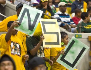 Norfolk State fans show their compasion during last year's basketball game.