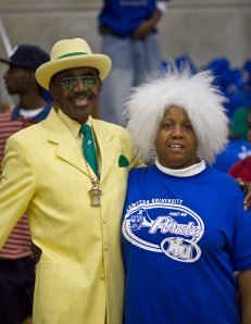 "Hampton's biggest fan Ms. Thompson and Mr. CIAA dressed in his ""Green & Gold"" at last years Hampton - Norfolk State basketball game."